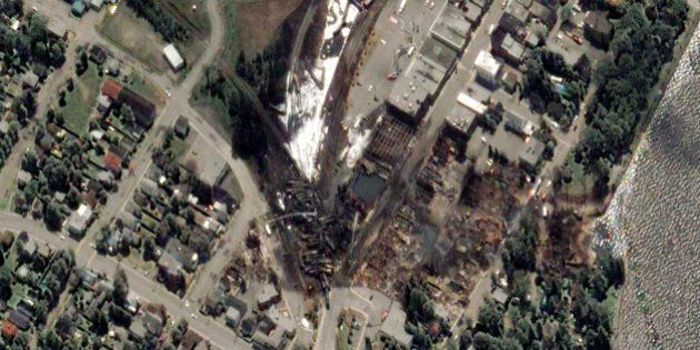 TRAIN EXPLOSION, LAC MEGANTIC, QUEBEC, CANADA - JULY 7, 2013: This is a satellite image taken the day...