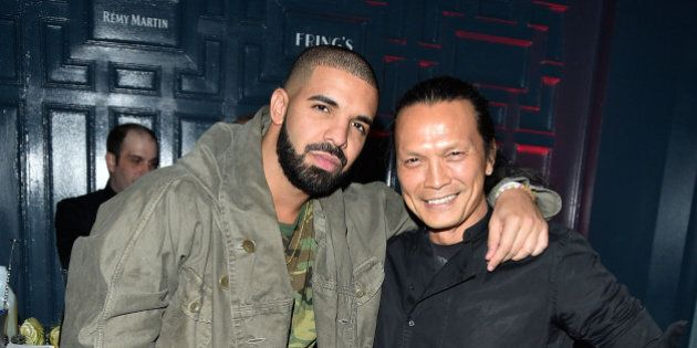 TORONTO, ON - SEPTEMBER 21:  Drake and Chef Susur Lee attend the Grand Opening Of Fring's Restaurant Toronto on September 21, 2015 in Toronto, Canada.  (Photo by George Pimentel/WireImage)