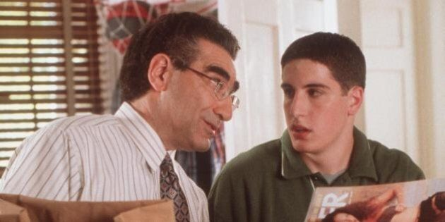 Following An Amusing Incident With A Pie, Jim's Dad (Eugene Levy) Decides It's Time For A Father-Son Talk About The Opposite Sex With Jim (Jason Biggs) In 'American Pie.'  (Photo By Getty Images)