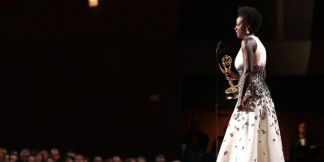 Viola Davis accepts the award for outstanding lead actress in a drama series for