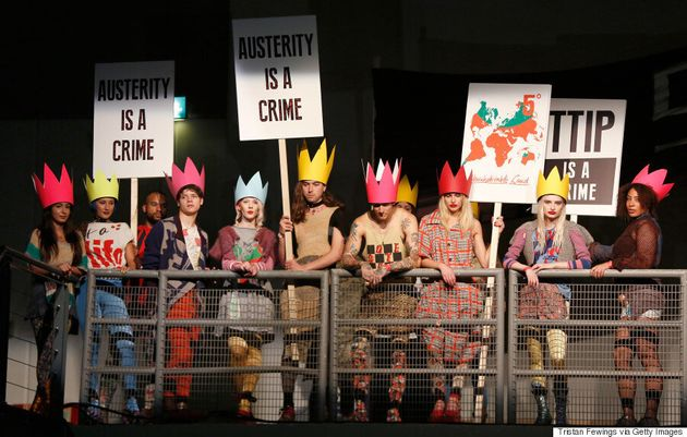 Vivienne Westwood Stages Protest At London Fashion
