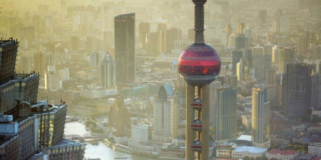 The terraces of the Jin Mao Tower overlooking the Oriental Pearl Tower in Shanghai,