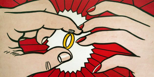 The Ring (Engagement), a 1962 oil on canvas, by the late artist Roy Lichtenstein, is displayed during the preview of Lichtenstein's first major exhibition since his death, Tuesday, Oct. 9, 2012, at the National Gallery of Art in Washington. (AP Photo/Manuel Balce Ceneta)