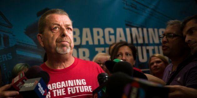 TORONTO, ON - AUGUST 18: Sam Hammond, president of the Ontario elementary teachers union, speaks at the...