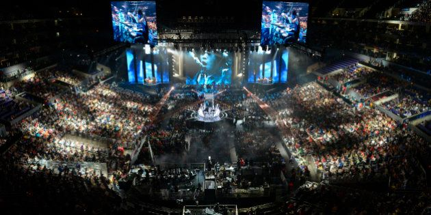FILE - In this Oct. 4, 2013 file photo, fans watch the opening ceremony at the League of Legends Season...