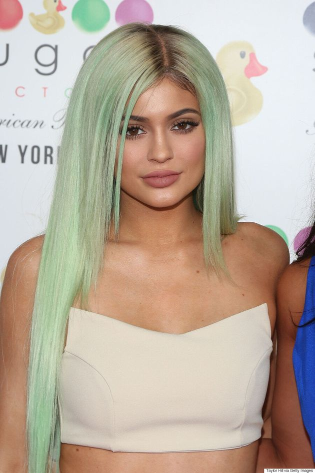 Kylie Jenner Debuts Mint Green Hair At Sugar Factory's New Restaurant In