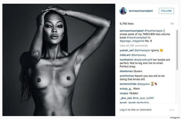 Naomi Campbell Goes Topless In #FreeTheNipple Instagram Post