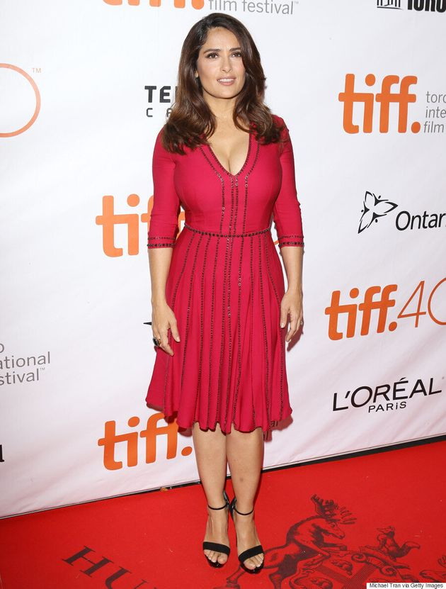 Salma Hayek TIFF 2015: 'Septembers Of Shiraz' Star Wears A Pop Of Colour On The Red