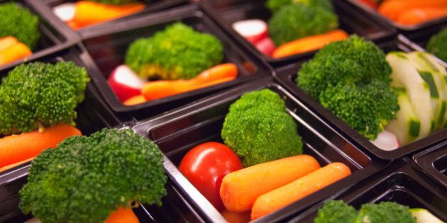 Fresh vegetable cups prepared for the National School Lunch Program at Washington-Lee High School in...