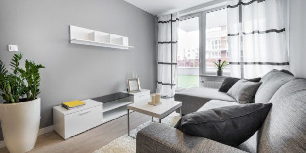 Modern interior design living room with gray walls.
