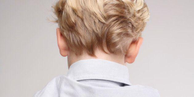 Rear view of a boy