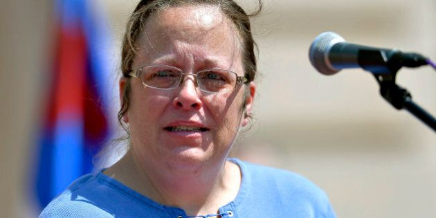Rowan County Kentucky Clerk Kim Davis speaks to a gathering of supporters during a rally on the steps...