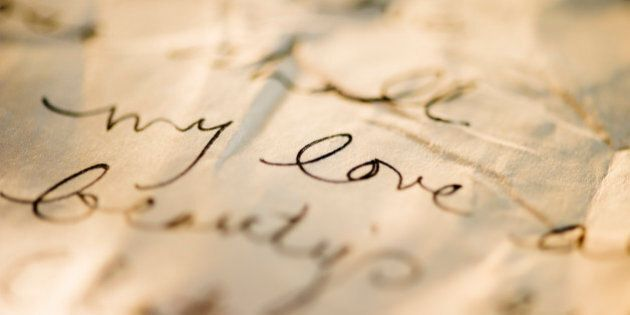 Close up of antique love letter on