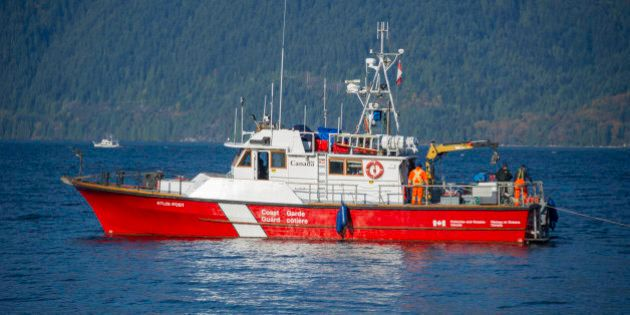 Canadian Coast Guard boat floating in Howe Sound, British Columbia,