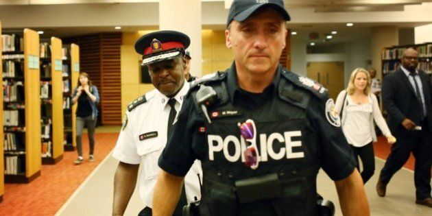 TORONTO, ON - SEPTEMBER 1: Toronto Police Chief Mark Saunders leaves a carding consultation meeting at...
