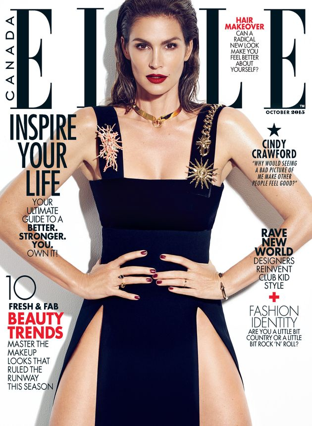 Cindy Crawford Covers Elle Canada, Opens Up About Leaked Unretouched