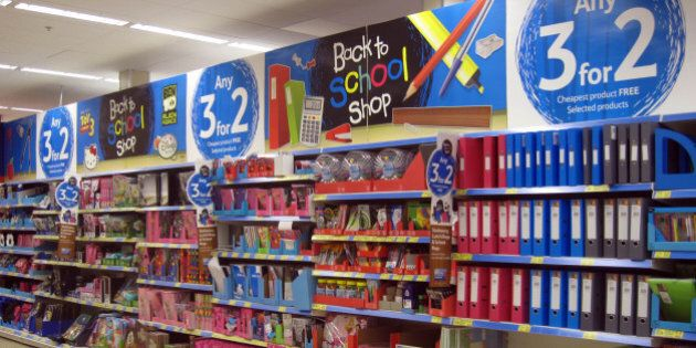 back to school shop, 3x2 promotion in Tesco Extra store