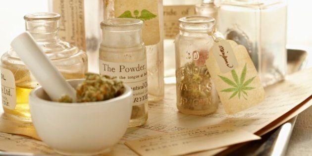 Marijuana with vintage bottles