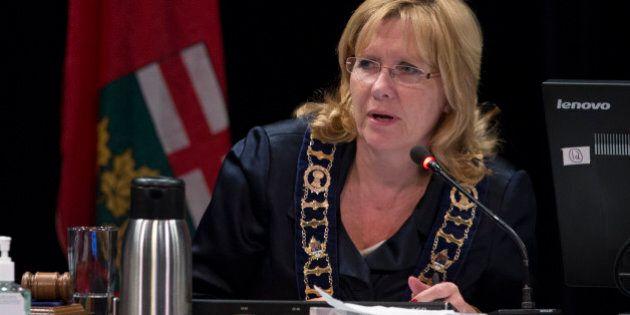 BRAMPTON, ON - OCTOBER 27: Brampton Mayor Linda Jeffrey during public submissions to council. Brampton...