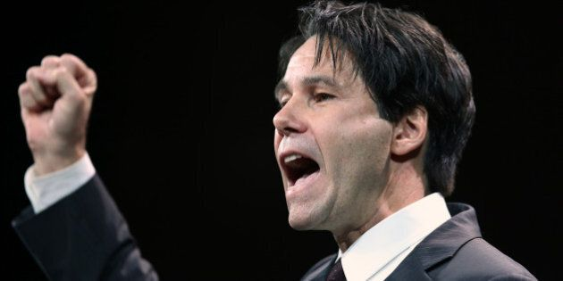 TORONTO, ON - JANUARY 26: Eric Hoskins delivers his pitch to the Leadership of the Ontario Liberals.   The Liberal Leadership convention continues Saturday at the at the old Maple Leaf Gardens. Rene Johnston/ Toronto Star        (Rene Johnston/Toronto Star via Getty Images)