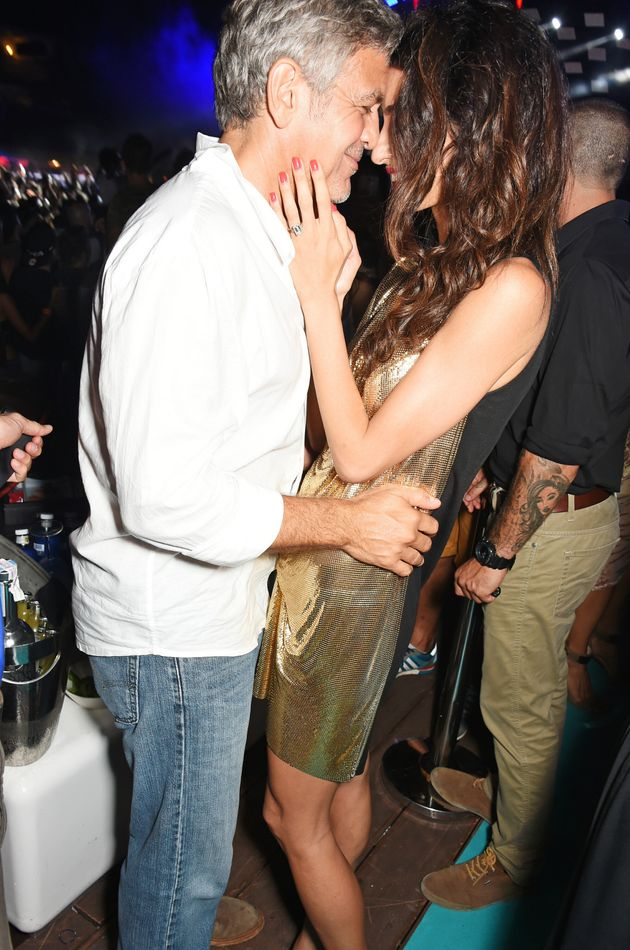 Amal Clooney Glows In A Gold Mini Dress With George In