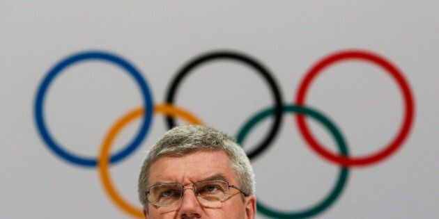 International Olympic Committee President Thomas Bach speaks at a press conference after the 128th IOC...