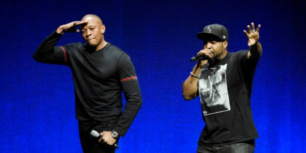 N.W.A. members Dr. Dre, left, and Ice Cube, two of the subjects of the upcoming biographical