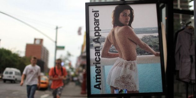 NEW YORK - AUGUST 18: An advertisment for an American Apparel retail store is displayed on August 18, 2010 in New York City. Shares of American Apparel have fallen 67 percent this year following news from the casual retailer that it expects a net loss of up to $7 million and that it has received a federal subpoena over its change in accounting firms. (Photo by Spencer Platt/Getty Images)