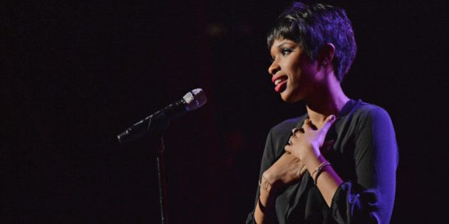 NEW YORK, NY - MARCH 11: Recording artist Jennifer Hudson performs during the Pinoy Relief Benefit concert...