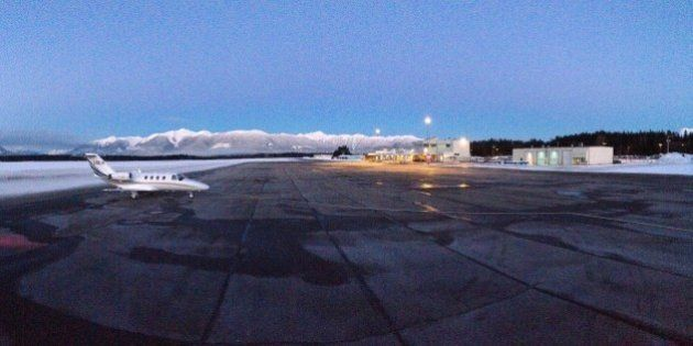 Panoramic picture of the Terrace Airport on a clear winter