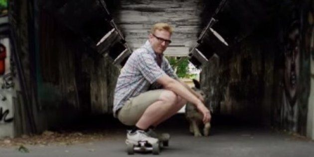 Ryan North Gets Trapped Inside A Skate Bowl With His Dog, Hilarity