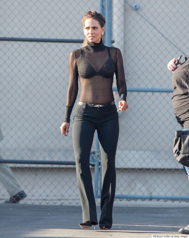 Halle Berry Gives A Lesson In Sheer Dressing During Her Appearance On 'Jimmy Kimmel