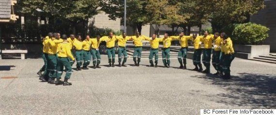 South African Firefighters Greet Canadians A