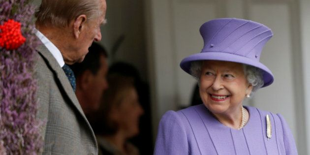 Britain's Queen Elizabeth and Prince Philip attend the annual Braemar Highland Gathering in Braemar,...