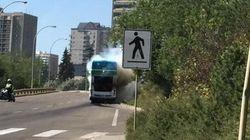 Edmonton Double-Decker Bus Bursts Into