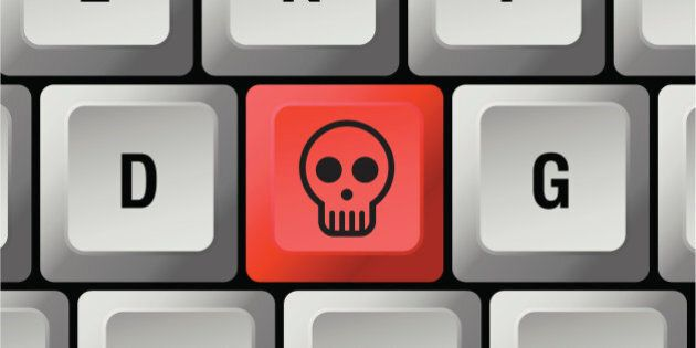 keyboard with red skull