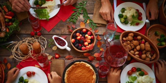 High angle view of festive table and people
