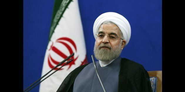 Iran's President Hassan Rouhani gives a press conference on the second anniversary of his election, in Tehran, Iran, Saturday, June 13, 2015. Rouhani said a final nuclear deal is