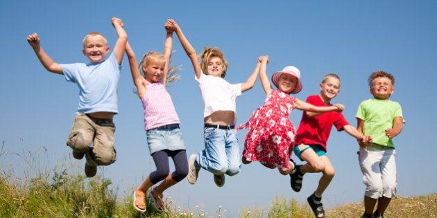 group happy children