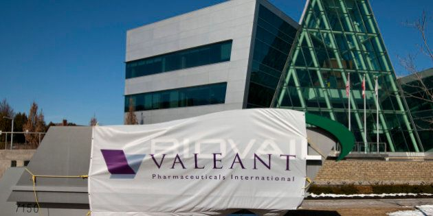Valeant Pharmaceuticals International Inc. signage is displayed outside of the company's headquarters...