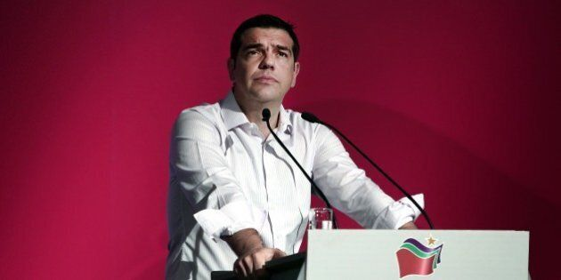 Greek Prime Minister Alexis Tsipras delivers a speech at the Syriza party's central committee in Athens...