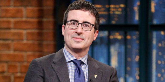LATE NIGHT WITH SETH MEYERS -- Episode 156 -- Pictured: Comedian John Oliver during an interview on February...