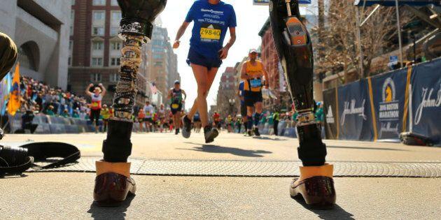 BOSTON - APRIL 18: Boston Marathon bombing survivor Celeste Corcoran stands on the finish line as she...