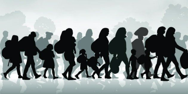 Silhouettes of refugees people searching new homes or life due to persecution. Vector