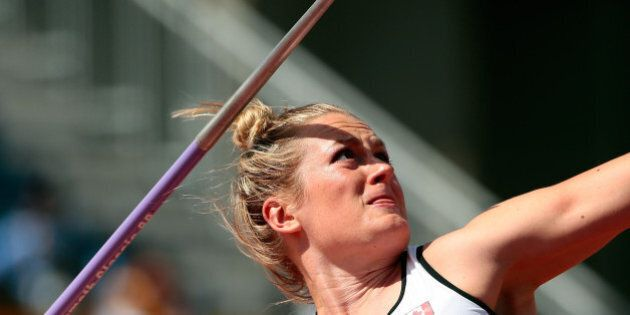 TORONTO, ON - JULY 21: Elizabeth Gleadle of Canada competes in the women's javelin throw final during...