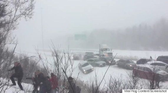 Highway 10 Pileup Shows Cars Sliding Into Each Other, Drivers