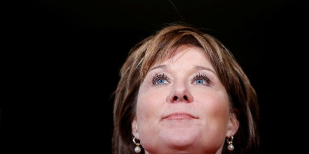 British Columbia Premier Christy Clark takes part in a news conference during the First Ministers'...
