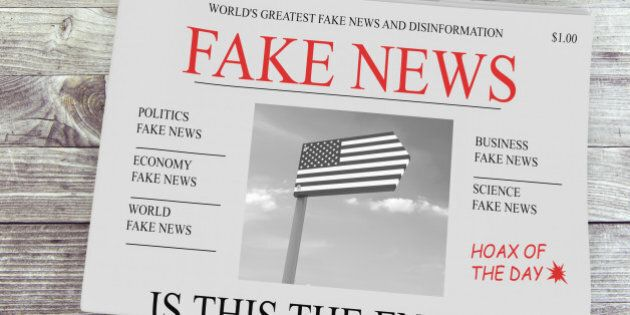 Fake News US Concept: Newspaper Front Page, 3d illustration on
