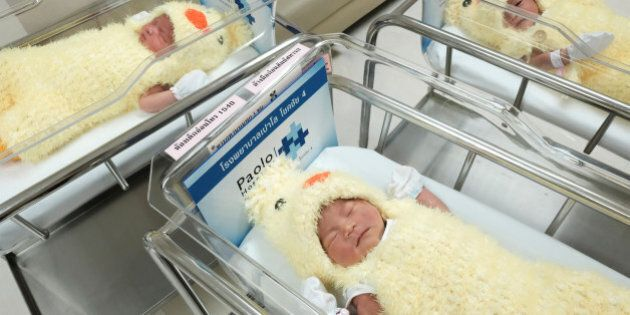 Newborn babies wearing chicken costumes to celebrate the Chinese New Year of Rooster are pictured at...
