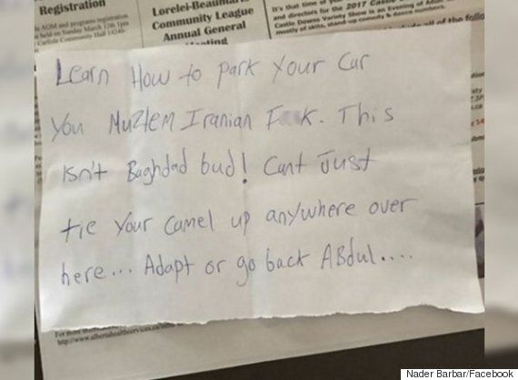 Ahmed Mustapha, Alberta Muslim, Shocked To Find Islamophobic Note On